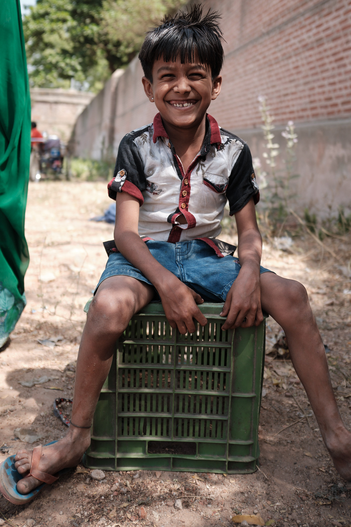 A boy with beautiful smile photographed in Ahmedabad