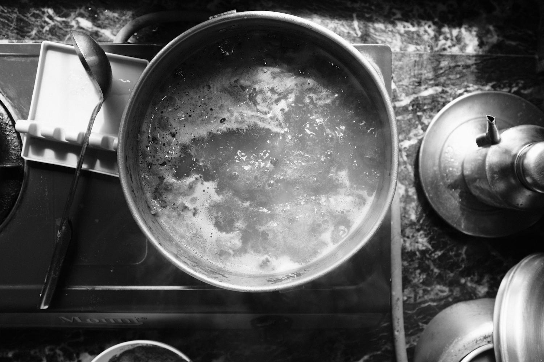 Making bone soup for momos