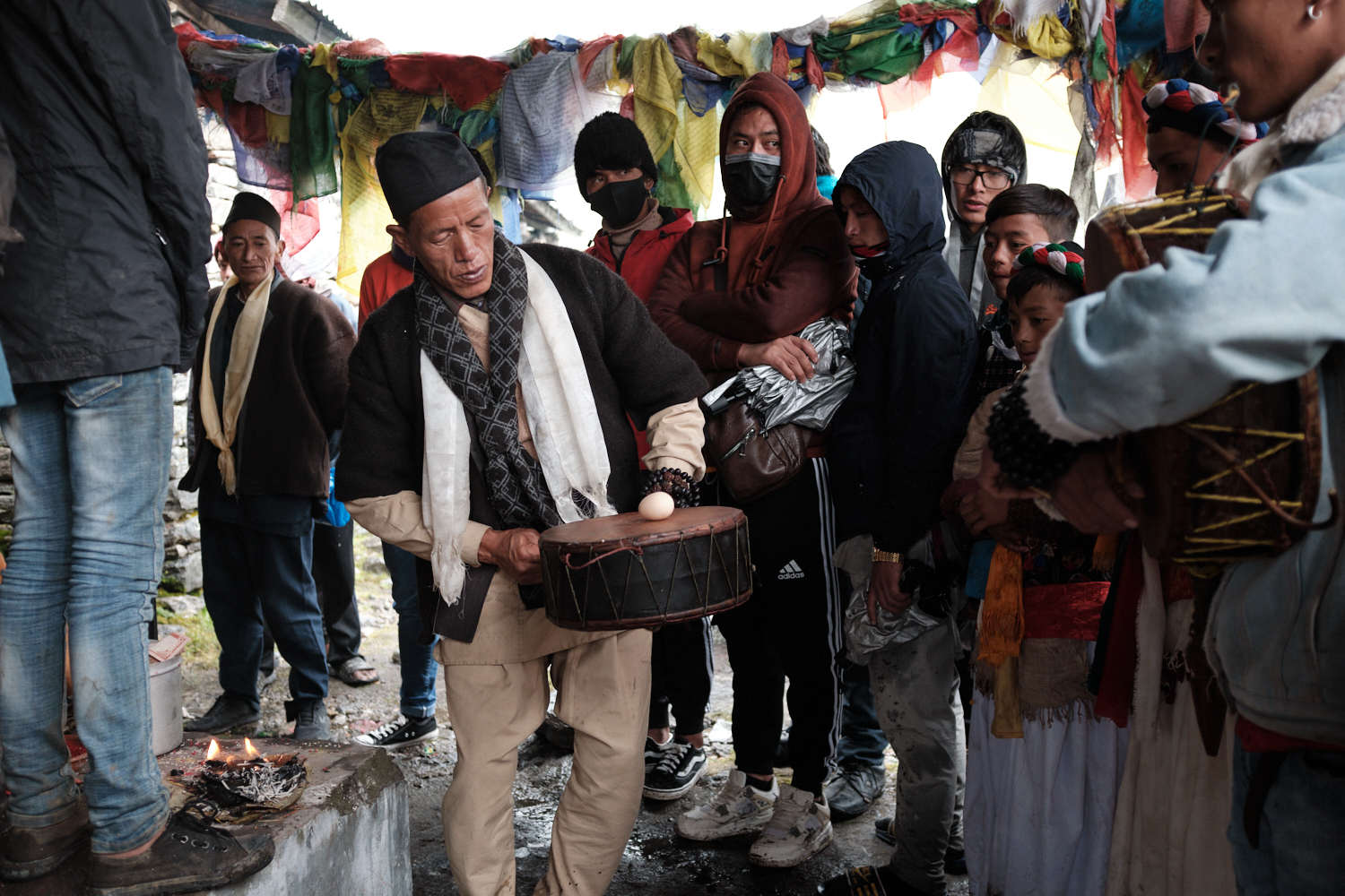 A shaman participates in a competition during the shaman festival at Gosainkunda Lake