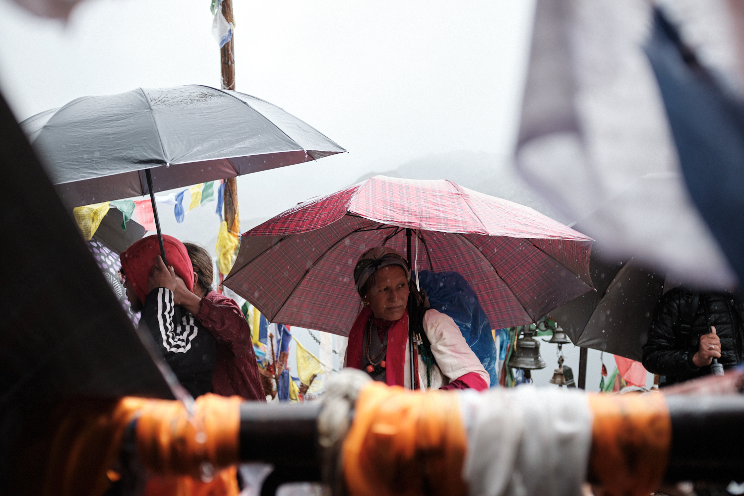 A woman holds an umbrella as she arrives at the Shiva temple to observe the shaman festival